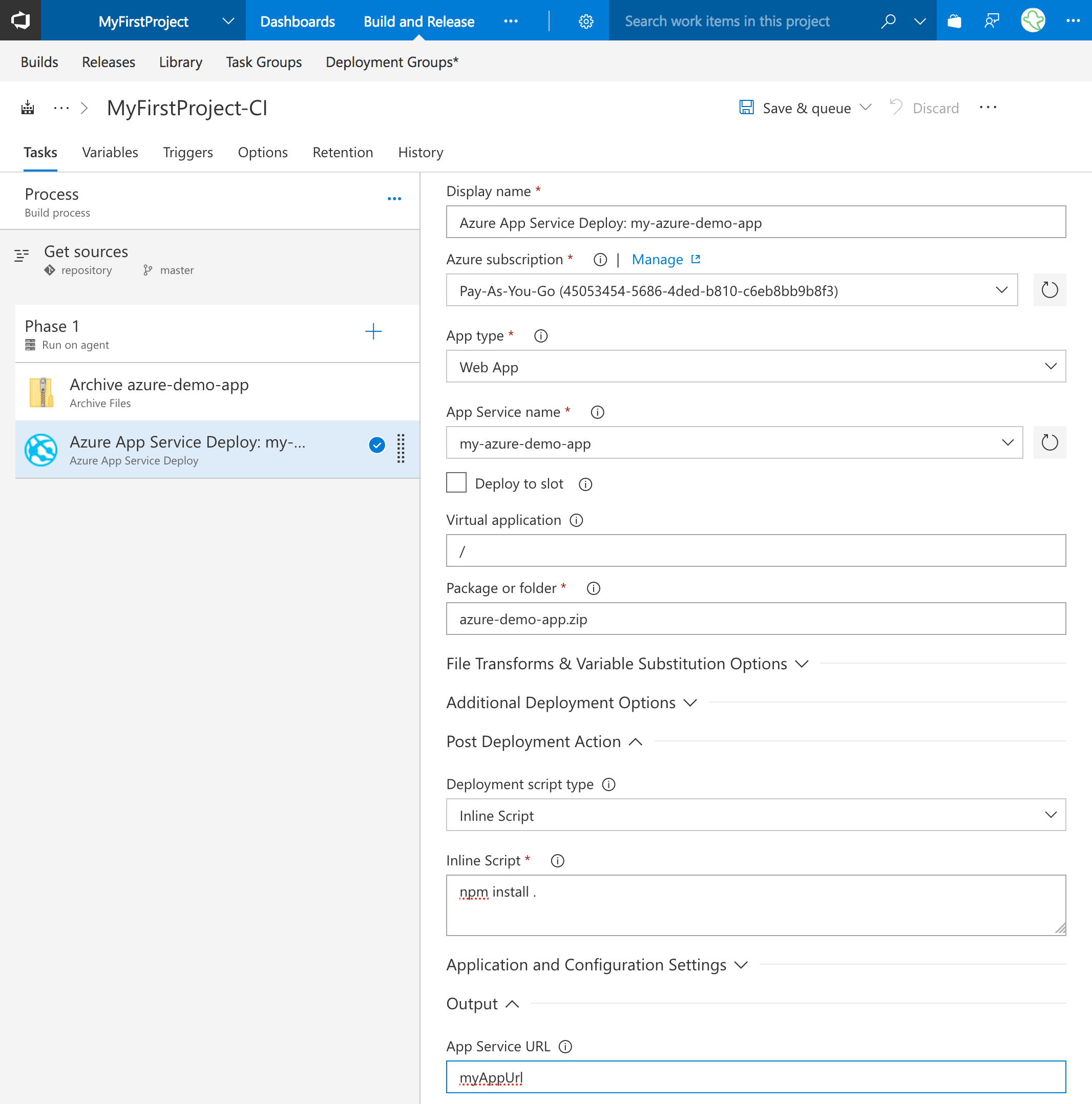 Add the Azure App Service Deploy task