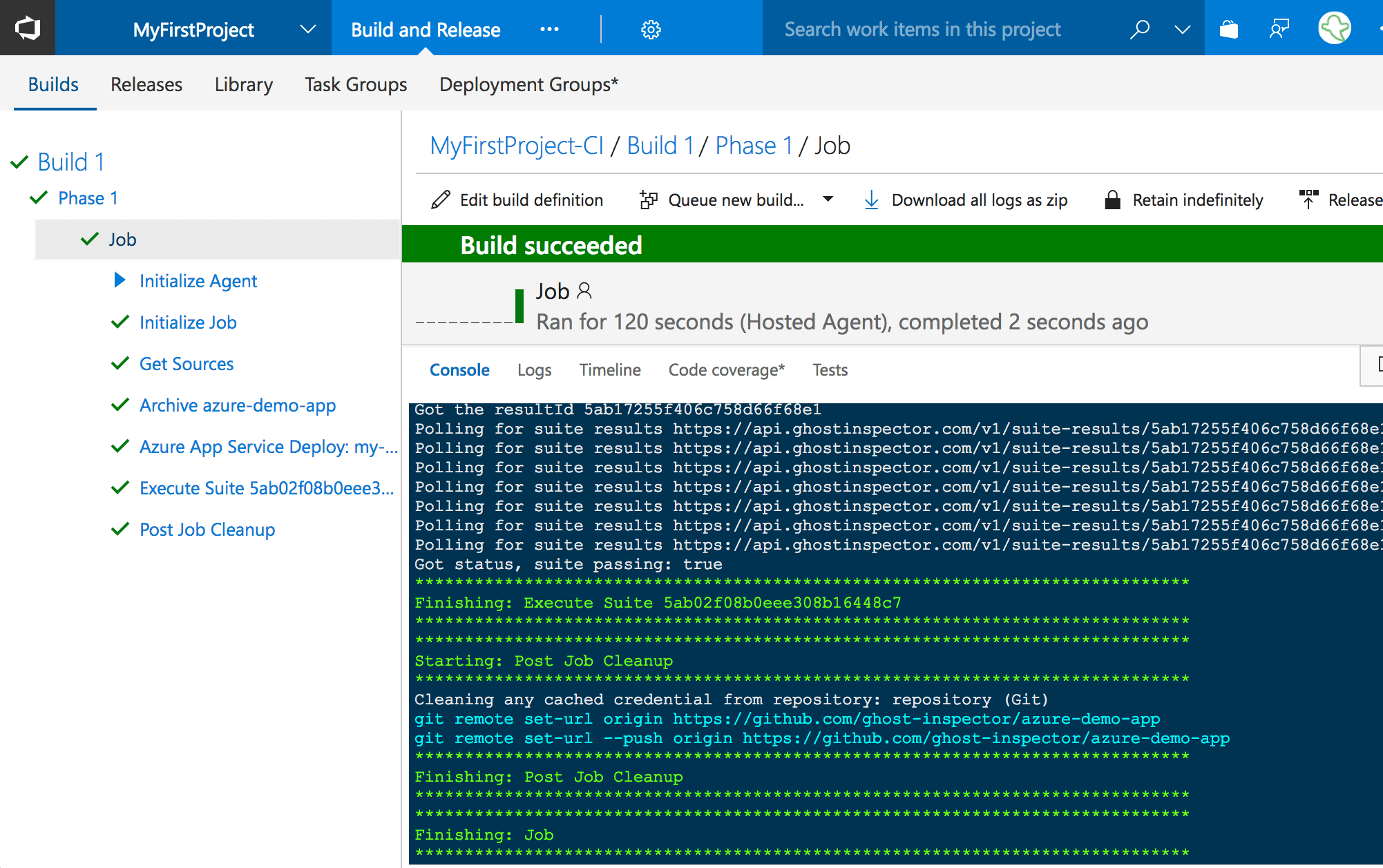 The VSTS build logs