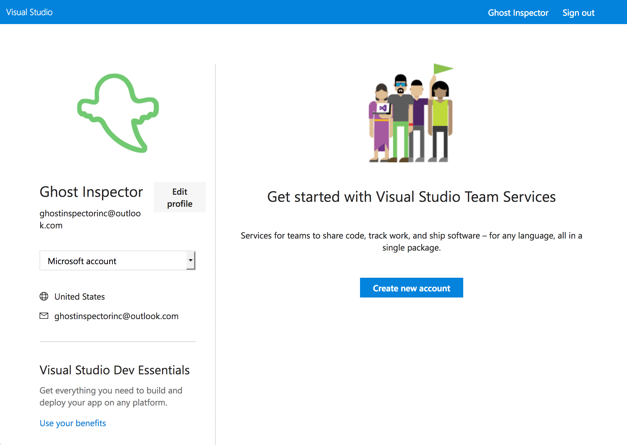 Create a new account in Visual Studio Team Services