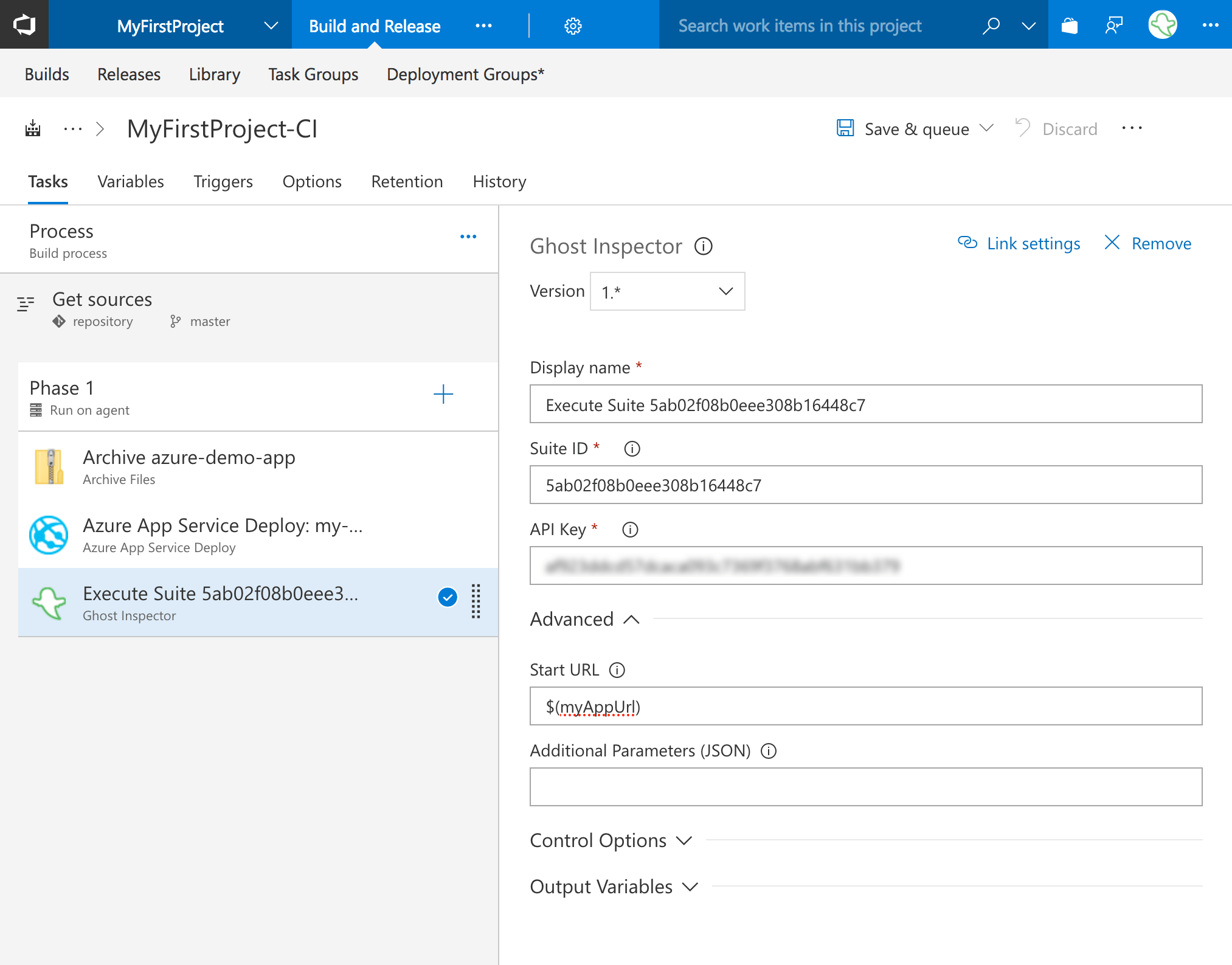 Configure the Ghost Inspector extension in VSTS