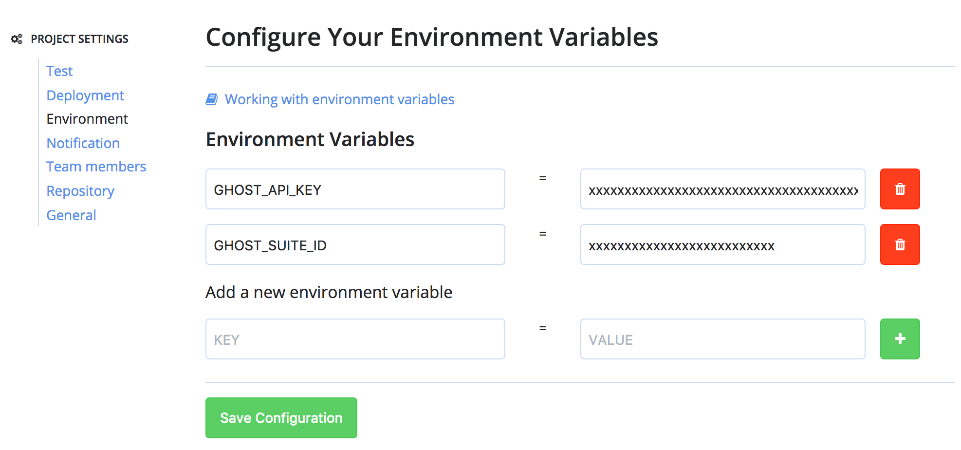 Codeship Environmental Variables