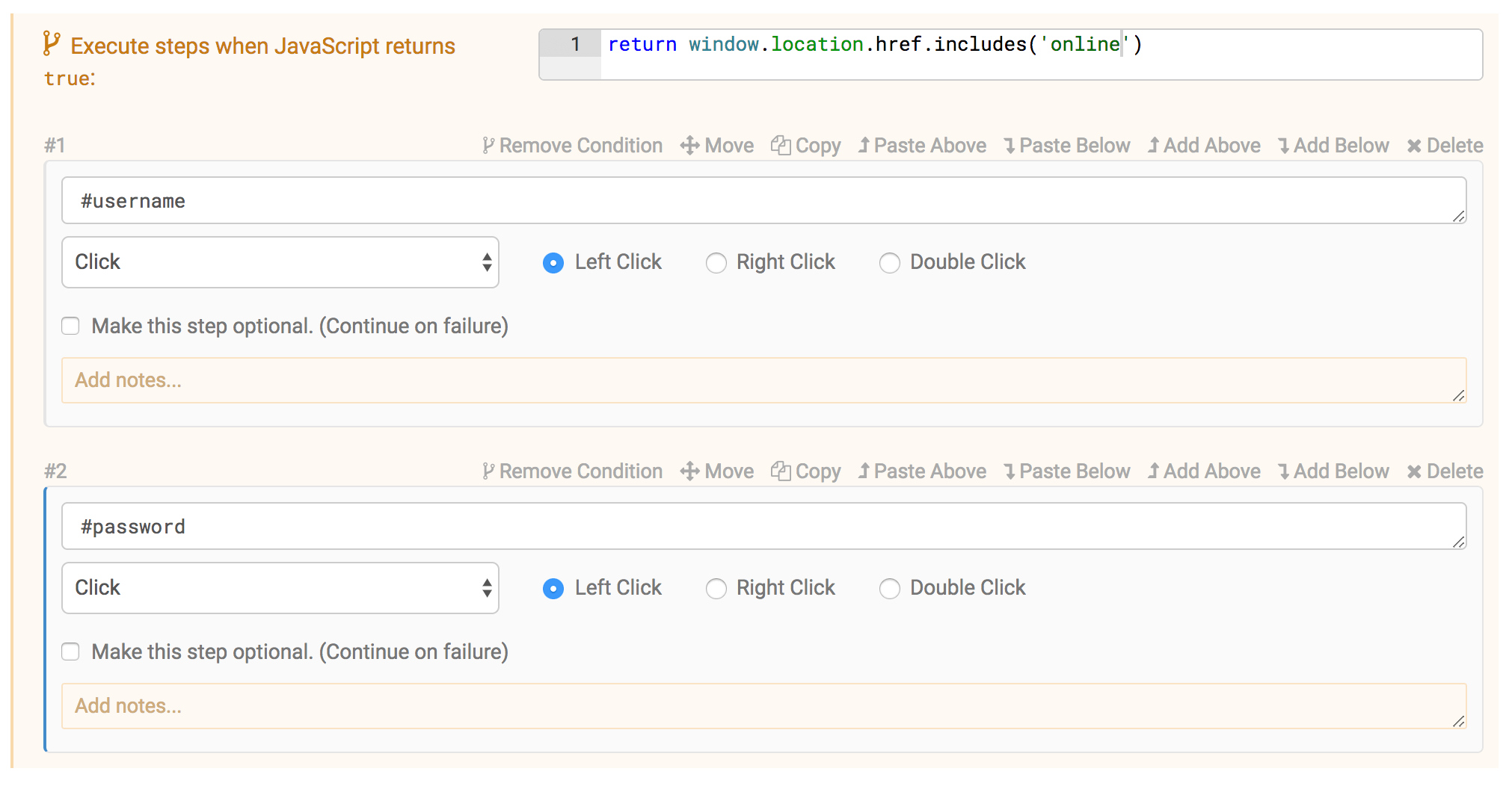 Grouped Conditional Steps in the Test Editor