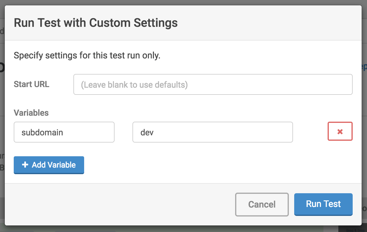 Run Test with Custom Settings…