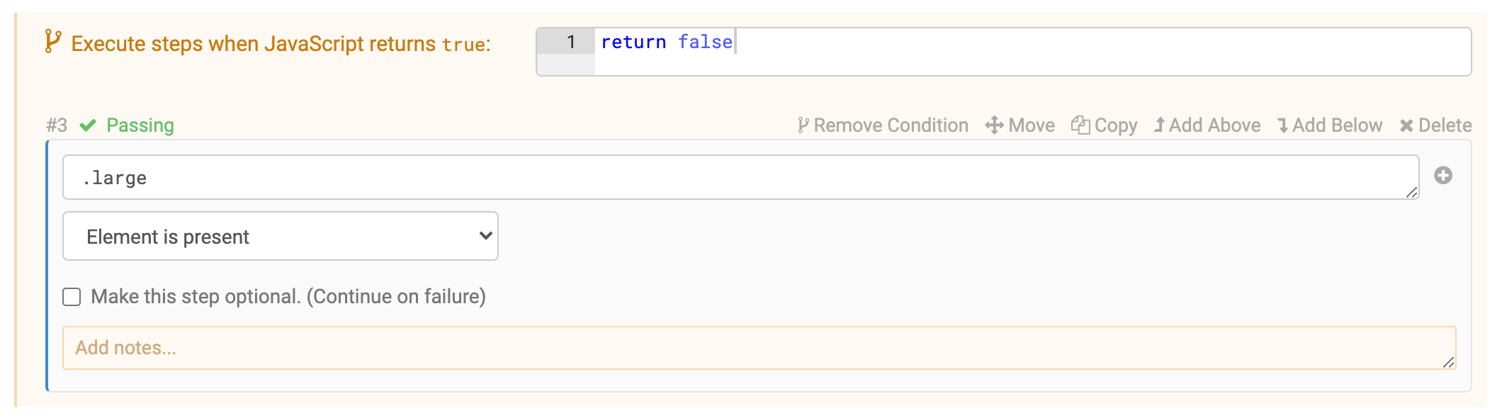 Disable a test step using a falsy condition
