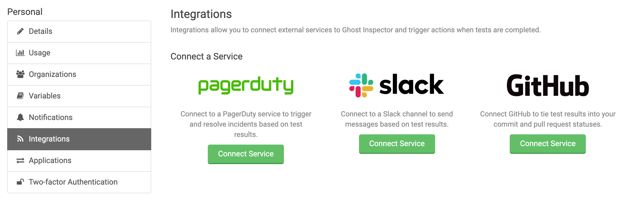 Ghost Inspector Integrations