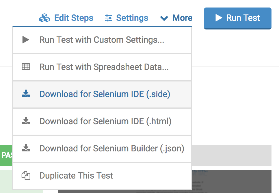Selenium export menu