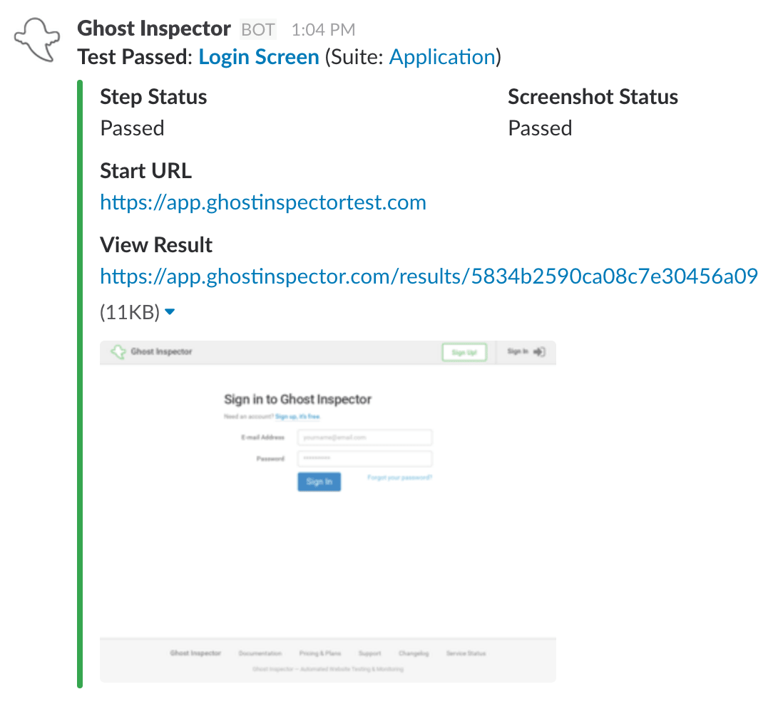 Ghost Inspector - Sample Slack Message