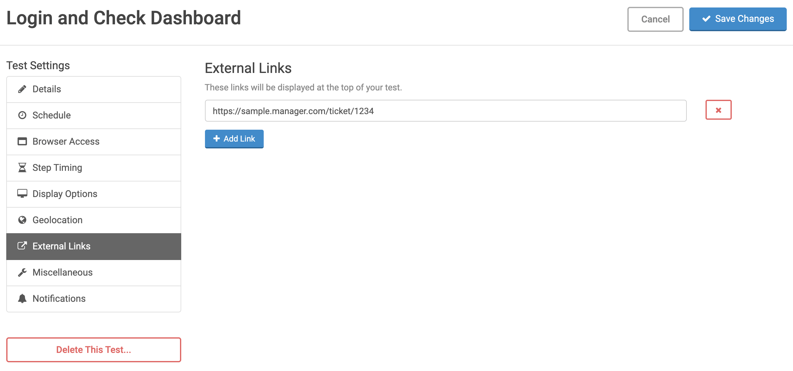 External Links settings