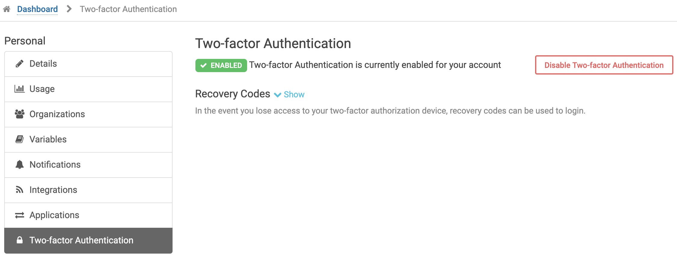 Two-factor Authentication settings when enabled